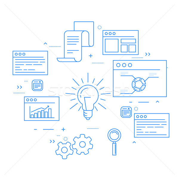 Stock exchange and business analytics, data flow, statisics and  Stock photo © gomixer