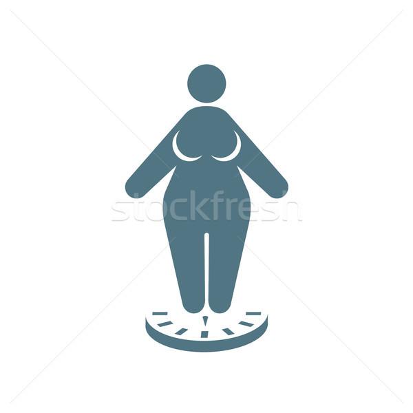 Icône grasse femme permanent échelles obésité Photo stock © gomixer