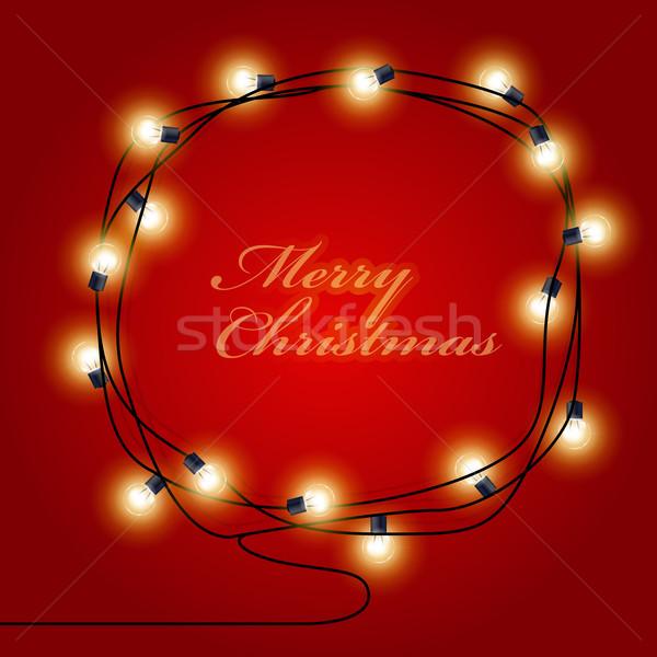 Festive frame made of shining Christmas Lights garlands Stock photo © gomixer