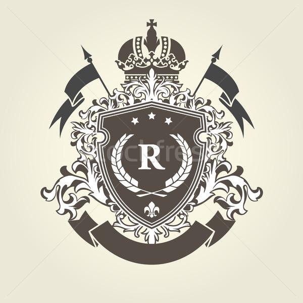 Real casaco brasão escudo coroa vintage Foto stock © gomixer
