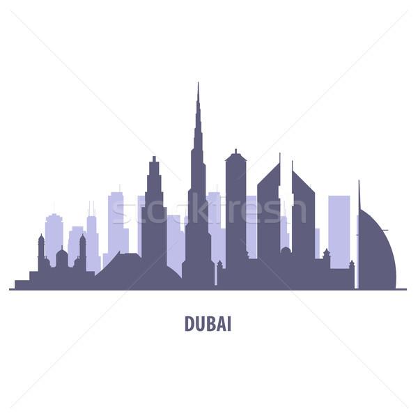 Dubaï Skyline silhouette cityscape style fond Photo stock © gomixer