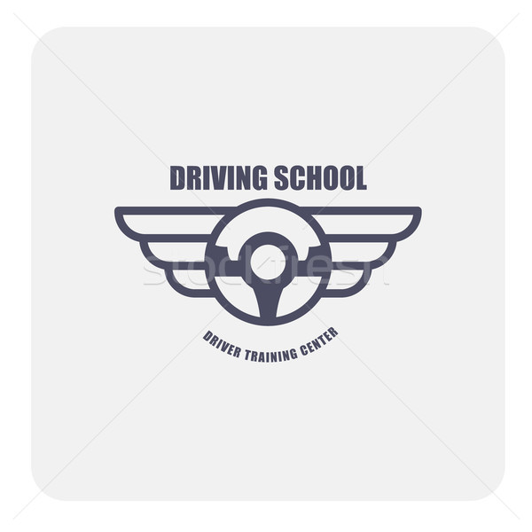 Driving school emblem - winged steering wheel  Stock photo © gomixer