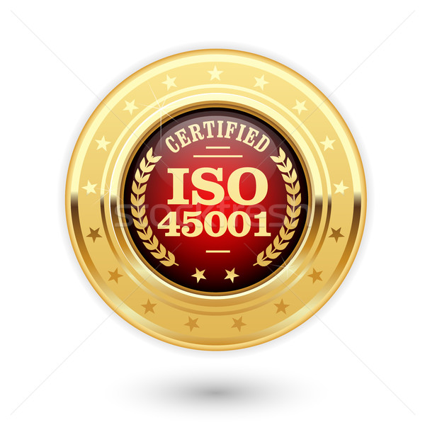 ISO 45001 certified medal - occupational health and safety insig Stock photo © gomixer