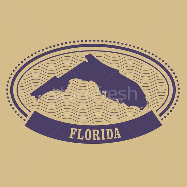 オーバル スタンプ フロリダ シルエット ラベル 旅行 ストックフォト © gomixer