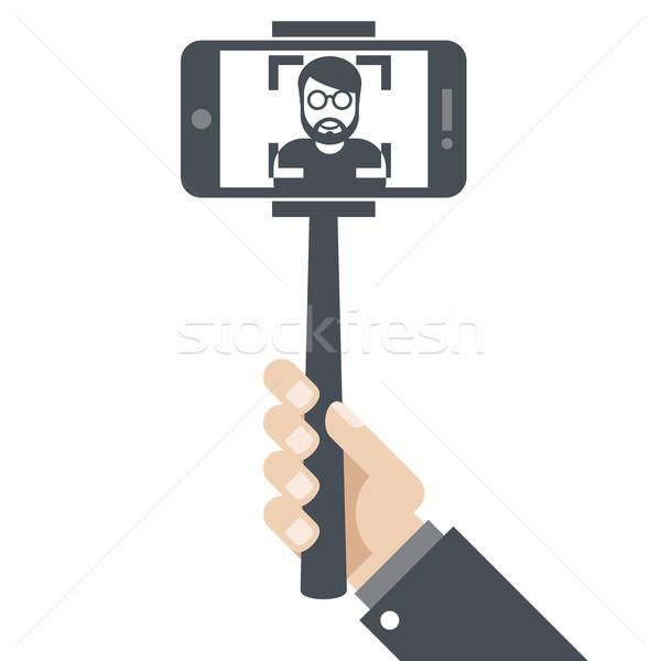 Kéz okostelefon bot arc kép ikon Stock fotó © gomixer