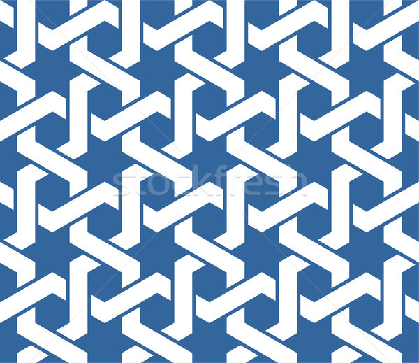 Seamless blue arabic ornament with twined lines pattern Stock photo © gomixer