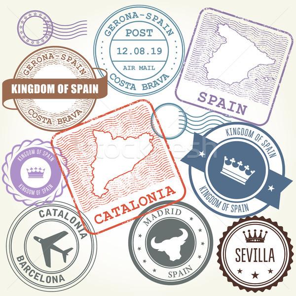 Viaje sellos establecer Barcelona España mapa Foto stock © gomixer