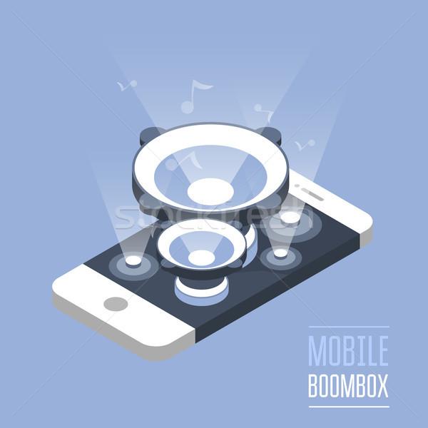 Okostelefon izometrikus telefon hangos zene Stock fotó © gomixer