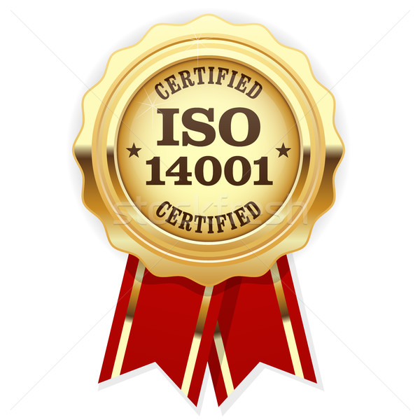 ISO 14001 certified - quality standard golden seal, environmenta Stock photo © gomixer
