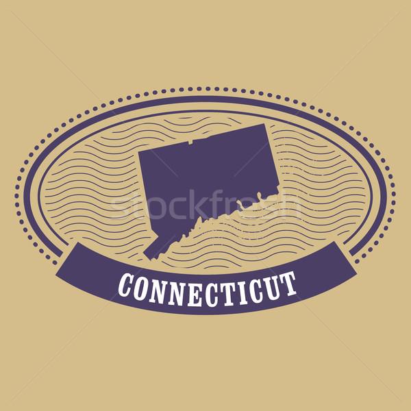Connecticut térkép sziluett ovális bélyeg utazás Stock fotó © gomixer