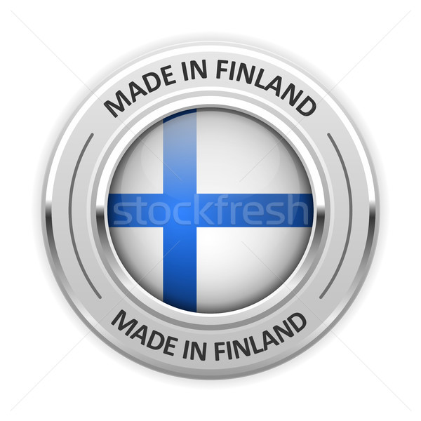 Silver medal Made in Finland with flag Stock photo © gomixer