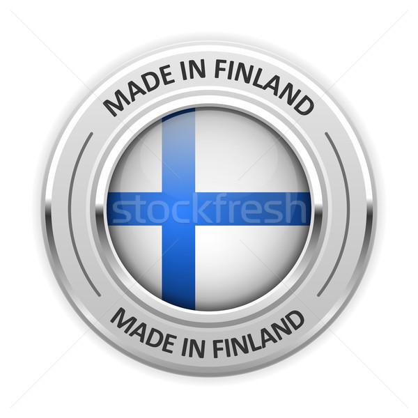 Prata medalha Finlândia bandeira pin selar Foto stock © gomixer