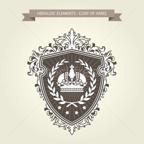Stock photo: Family coat of arms - heraldic shield with crown and laurel wrea