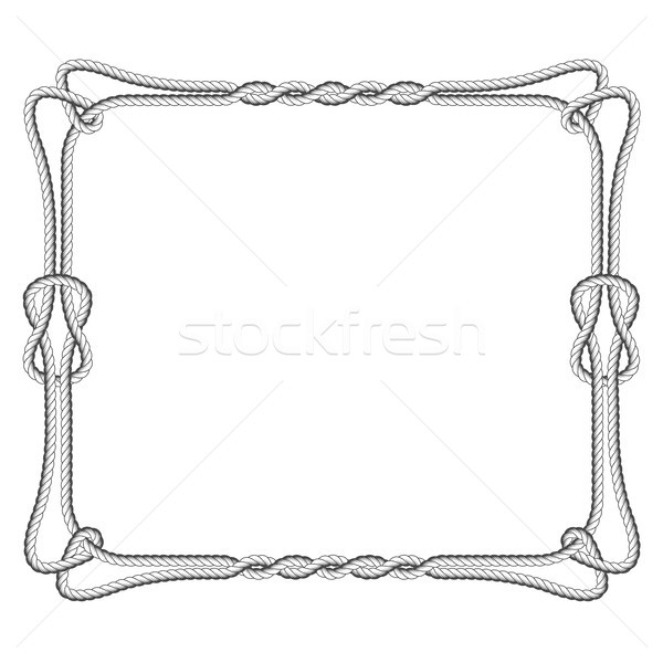 Rope square frame with knots and loops Stock photo © gomixer