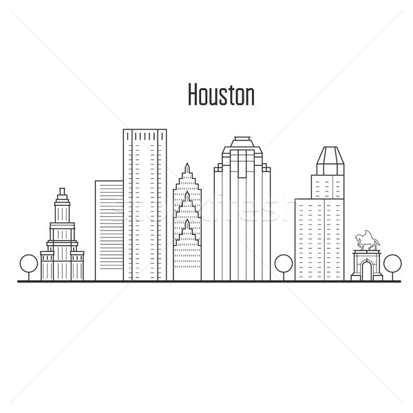 Houston skyline - downtown cityscape, city landmarks in liner st Stock photo © gomixer