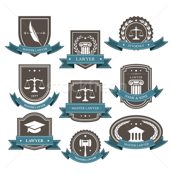 Master lawyer and attorney emblems, blazons and badges  Stock photo © gomixer