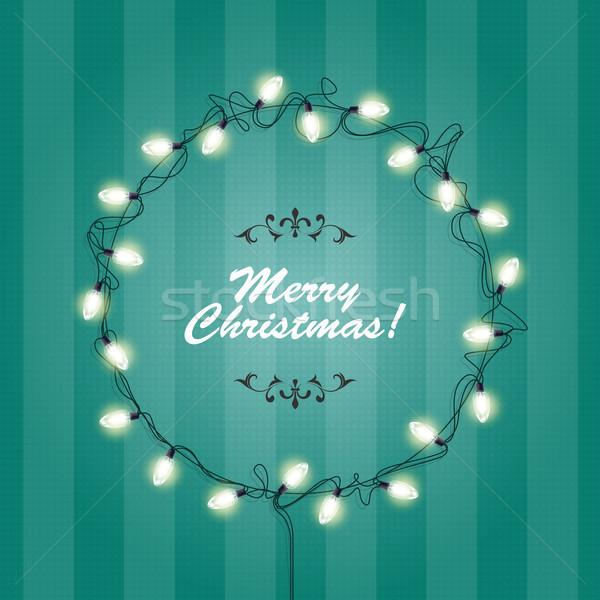 Christmas Lights wreath frame - round festive lights garlands  Stock photo © gomixer