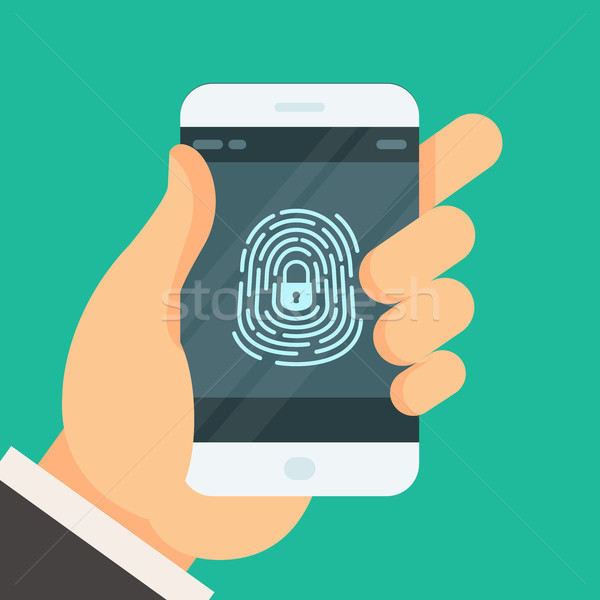 Mobile phone unlocked with fingerprint button - smartphone passw Stock photo © gomixer