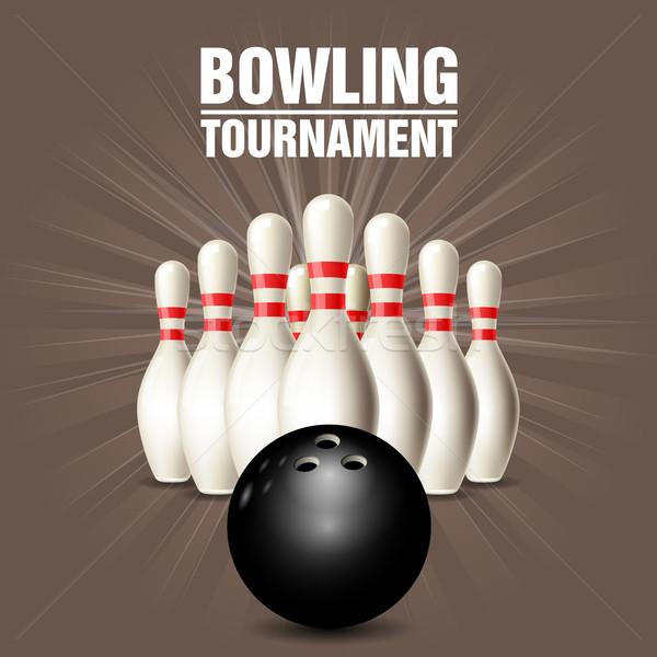 Set Bowling Bowlingkugel Plakat Karte Gericht Stock foto © gomixer