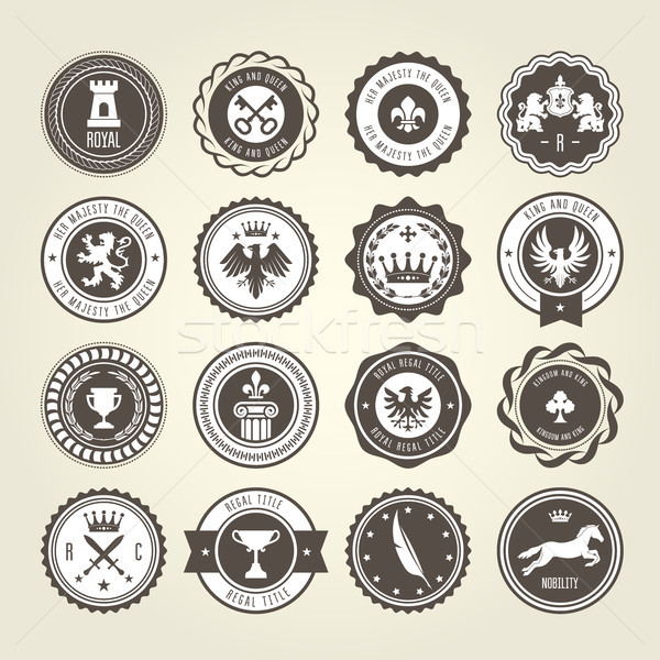 Emblems, blazons and heraldic badges - round labels Stock photo © gomixer