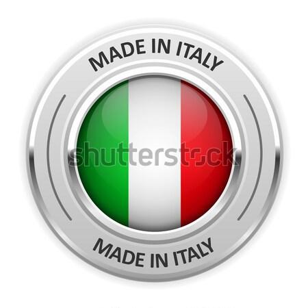 Ezüst érem Olaszország zászló tő fóka Stock fotó © gomixer