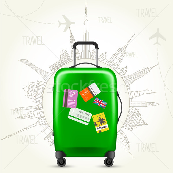 Journey round-the-world - suitcase and world sights Stock photo © gomixer