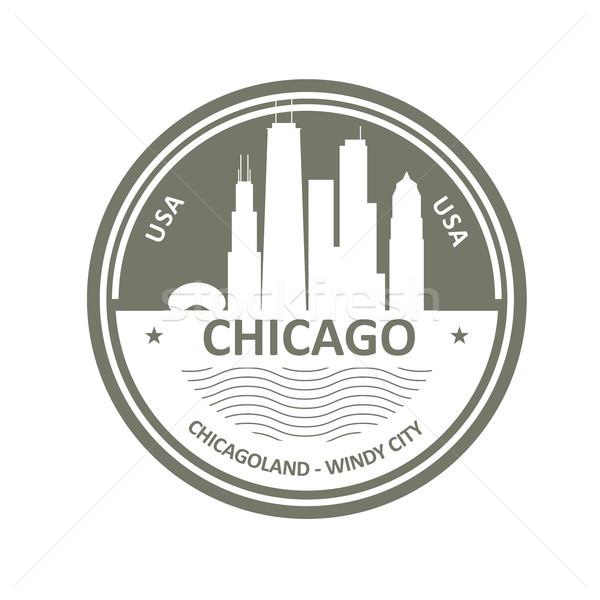 Badge Chicago skyline stad embleem gebouw Stockfoto © gomixer