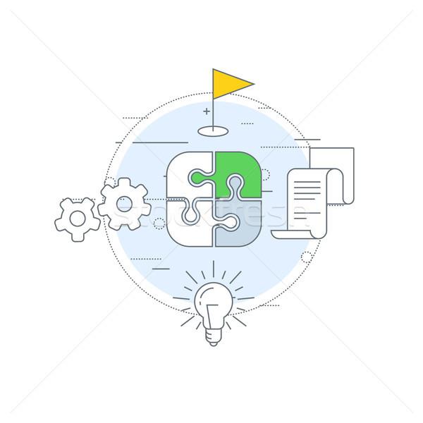 Strategia marketingowa ikona Internetu reklamy mediów planowania Zdjęcia stock © gomixer