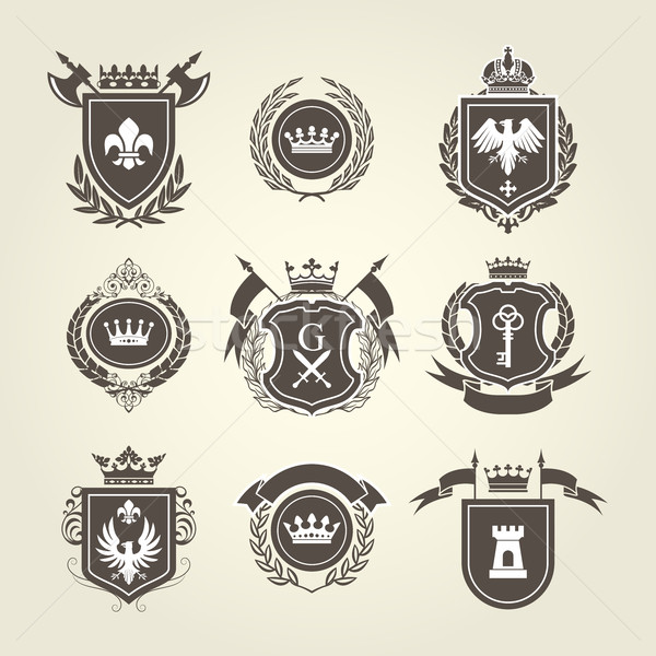 Coat of arms and knight blazons - heraldic shields Stock photo © gomixer