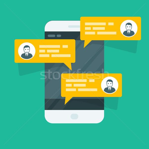 Sms смартфон чате телефон Сток-фото © gomixer