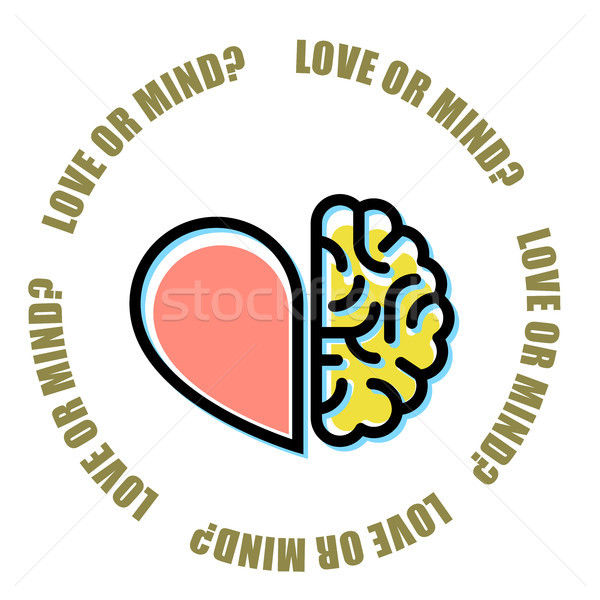 Love or mind - half of heart and brain, mercenary marriage symbo Stock photo © gomixer