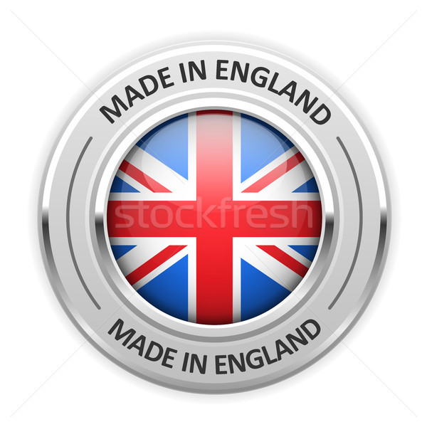 Srebrny medal Anglii banderą etykiety pieczęć Zdjęcia stock © gomixer
