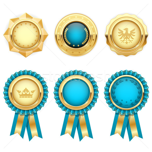 Turquoise award rosettes and gold heraldic medals  Stock photo © gomixer