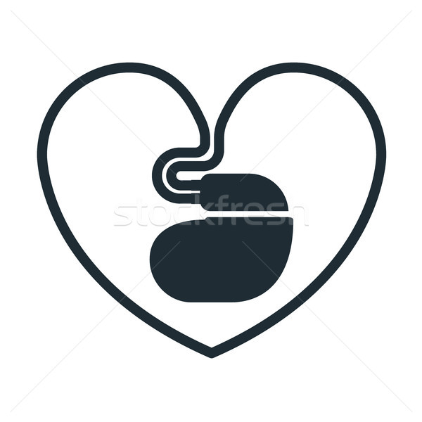 Cardiac pacemaker icon with  heart-shaped cord Stock photo © gomixer