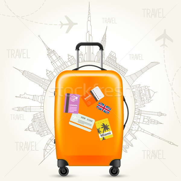 Trip round the world - travel poster, suitcase and world of land Stock photo © gomixer