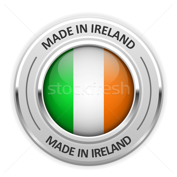 Zilver medaille Ierland vlag pin label Stockfoto © gomixer