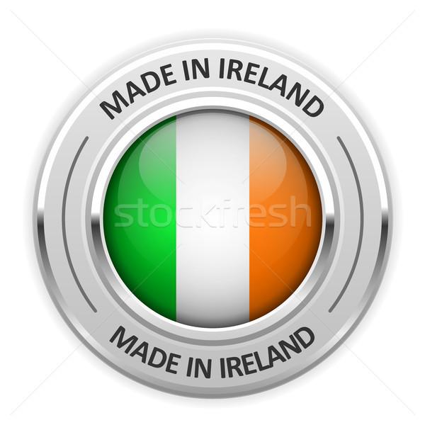 Gümüş madalya İrlanda bayrak pin etiket Stok fotoğraf © gomixer