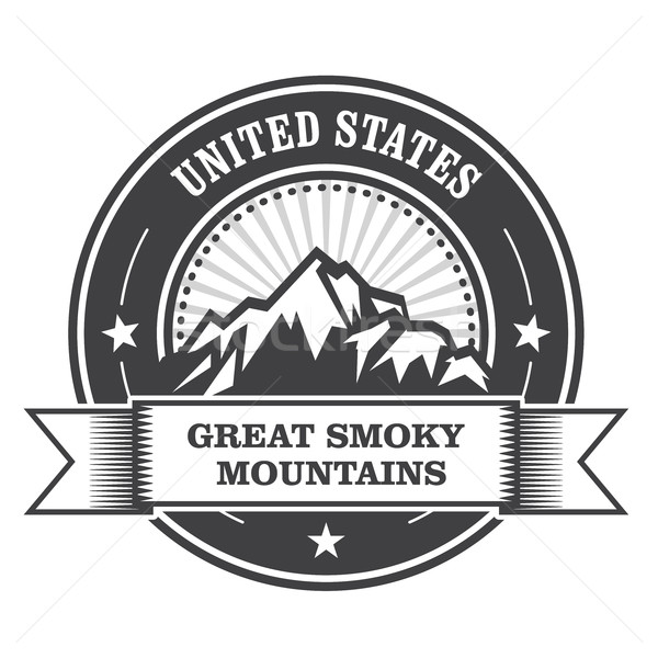 Great Smoky Mountains stamp - label with ribbon Stock photo © gomixer