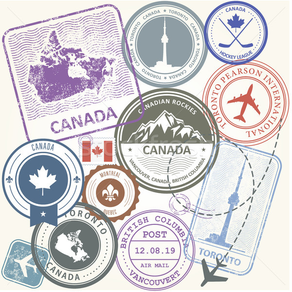 Canada travel stamps set -  journey symbols of Toronto, Canada a Stock photo © gomixer