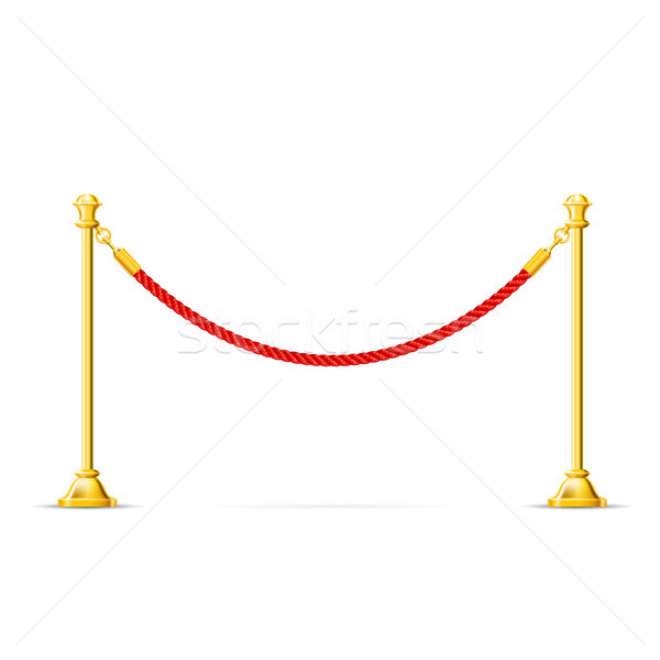 Golden barricade with red rope - barrier rope, vip zone Stock photo © gomixer