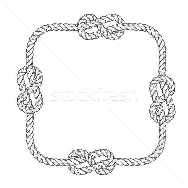 Rope frame - square rope frame with knots, vintage style Stock photo © gomixer