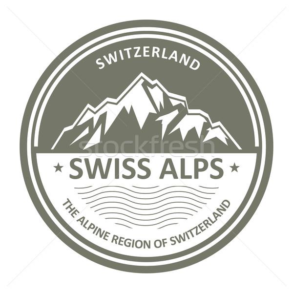 Snowbound Swiss Alps emblem - Switzerland stamp Stock photo © gomixer