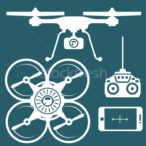 Silhouette of quadcopter and remote contro and smartphone Stock photo © gomixer