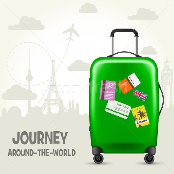 Bavul seyahat avrupa turizm poster Stok fotoğraf © gomixer