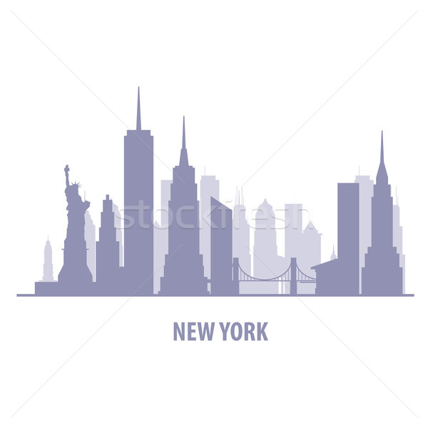 Stok fotoğraf: New · York · Cityscape · ufuk · çizgisi · siluet · Bina · arka · plan