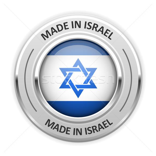 Ezüst érem Izrael zászló csillag tő Stock fotó © gomixer