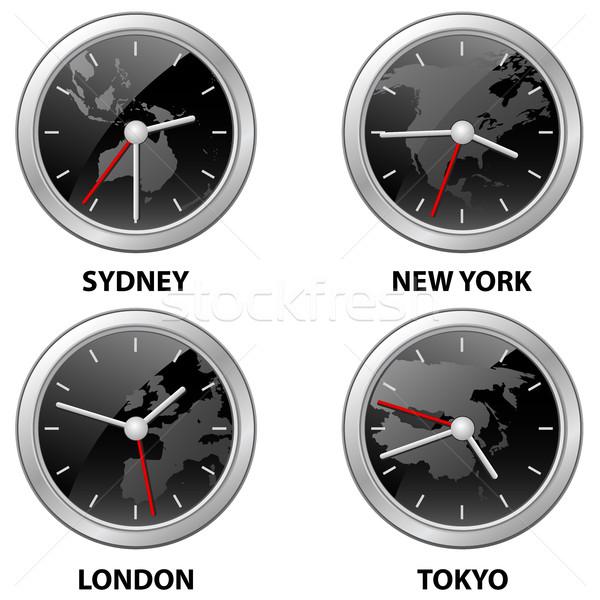Világ idő órák város térképek földrész Stock fotó © gomixer