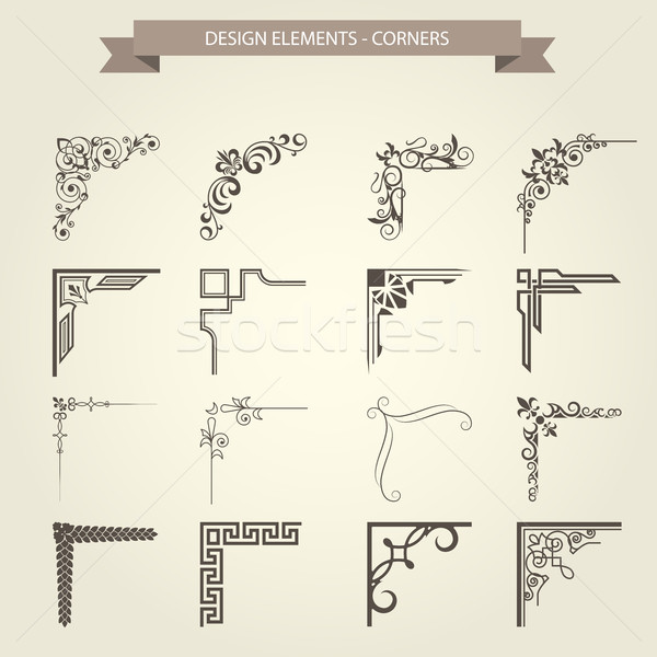 Vintage corner vignettes set - frame border flourish pattern Stock photo © gomixer