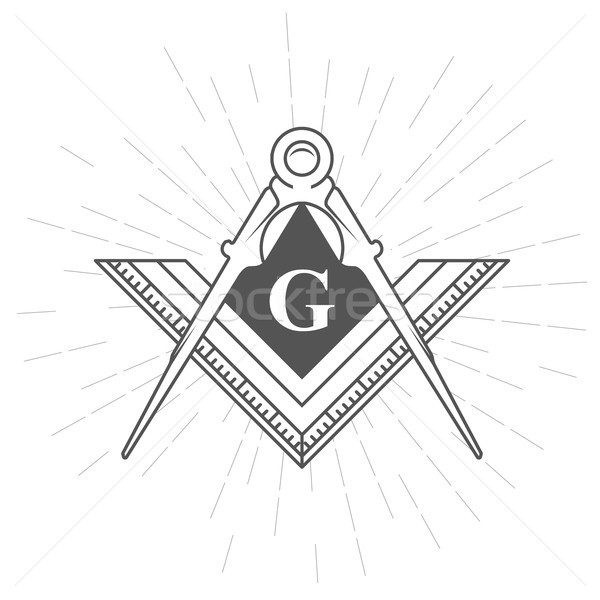 Szimbólum logo körző vonalzó Stock fotó © gomixer