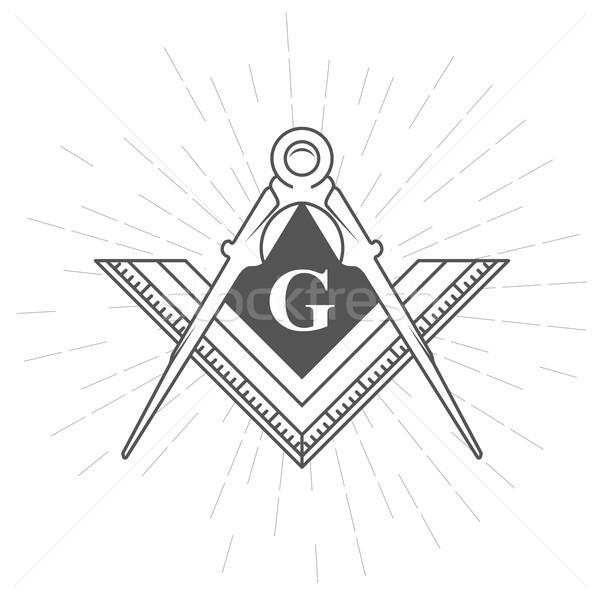 Freemason symbol - illuminati logo with compasses and ruler Stock photo © gomixer